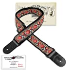 Walker & Williams H-21 Mandala Woven 60's Style Hootenanny Hippie Guitar Strap