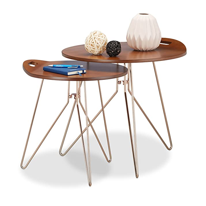 Relaxdays 10021266 Set Tavolini da Salotto, Legno, Marrone, 47 x 47 x 44 cm