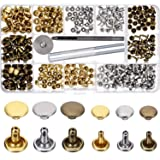 Bememo 180 Set 2 Sizes Leather Rivets Double Cap Rivet Tubular Metal Studs with 3 Pieces Fixing Tool for DIY Leather Craft, Rivets Replacement, 3 Colors (Gold, Silver and Bronze) (Color: Gold)