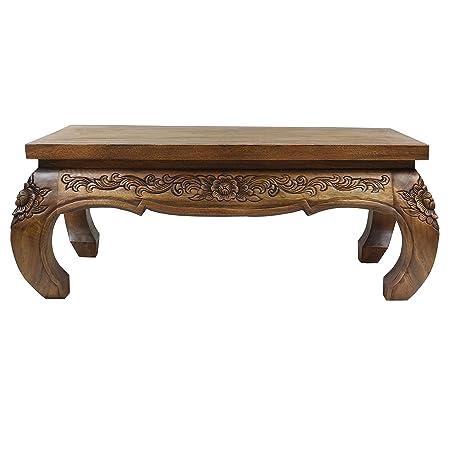 Asiatischer Wohnzimmertisch Opiumtisch Couchtisch Sofatisch Holztisch niedriger Tisch ca. 40x80cm Hellbraun