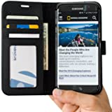 Abacus24-7 Samsung Galaxy S7 EDGE Case, Wallet with Flip Cover and Stand, Black (Color: Black)