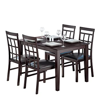 CorLiving DKR-799-Z1 5-Piece Dark Cocoa Dining Set with Lattice Back Chairs