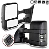 SCITOO Towing Mirrors, fit Ford Exterior Accessories Mirrors fit Ford F250 F350 F450 F550 Super Duty 2003-2007 Signal Power Controlling Heated Convex Glass Manual Folding Telescoping (Pair) (Color: Pair)