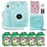 Fujifilm Instax Mini 9 Instant Camera Ice Blue with Custom Case + Fuji Instax Film Value Pack (50 Sheets) Flamingo Designer Photo Album for Fuji instax Mini 9 Photos (Color: Ice Blue)