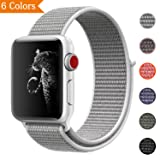 Bandx Nylon Sport band for Apple Watch 42MM 38MM, Fastener Adjustable Closure Wristband Lightweight Breathable Nylon Replacement Strap for Apple Watch Series Men Women 3/2/1 (seashell 42mm) (Color: seashell, Tamaño: 42mm)