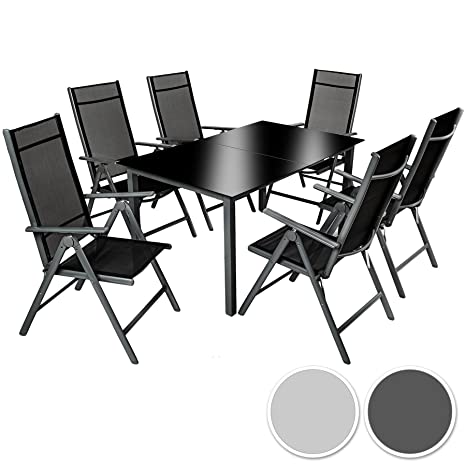 TecTake Aluminium Sitzgarnitur 6+1 Sitzgruppe Gartenmöbel Tisch & Stuhl-Set dunkelgrau