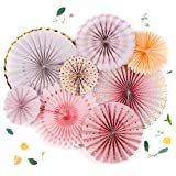 PapaKit Origami Wall Decoration Set (8 Assorted Round Paper Fans) Birthday Party Baby Shower Wedding Events Decor   Creative Art Design Pattern (Sparkling Pink Rose Blush, 8 Piece Set) (Color: Sparkling Blush - Metallic Gold Accent, Tamaño: 8 Piece Set)