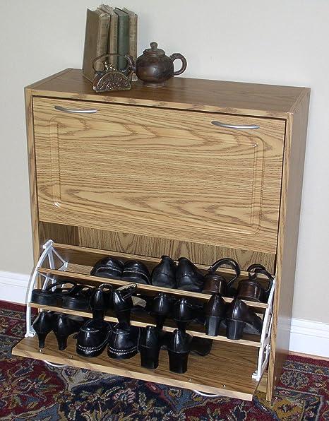 4D Concepts Deluxe Double Shoe Cabinet - Oak