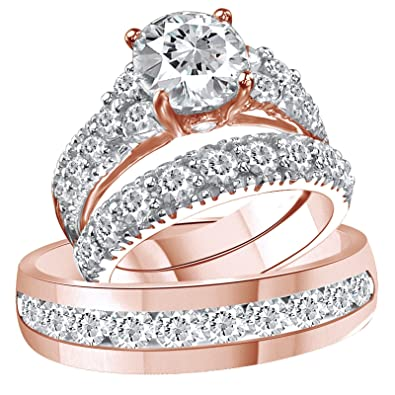 Vorra Fashion Round CZ 14K Rose Gold Plated .925 Silver Unisex Trio Engagement Ring Set