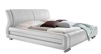 sette notti  Polsterbett Bett Doppelbett XXL Weiß, Liegefläche 160 x 200 cm, Kunstleder Bett Weiß, Art. Bolzano 1094-10-4000