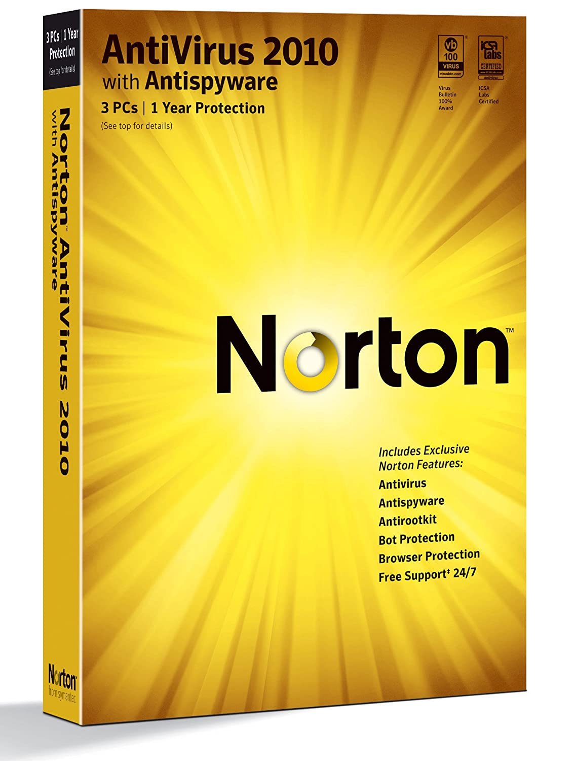 "Norton Antivirus 2010 1-User/3PC [Old Version] (CD-ROM) By Symantec          4 used and new from $22.49     Customer Rating:       First tagged ""internet security software"" by HB Mcdonald ""ancestorhunter1"""