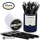 Papa Richi LUXURY Oil Pens UNIWRITE (Pack of 12) with Kernel 1.0mm – Premium Quality & Easy Writing - Original (Blue) Ink or Black Ink - Business Gift Pens - 30 Day Warranty (12 UniWrite 1.0, Black) (Color: Black, Tamaño: 12 UniWrite 1.0)