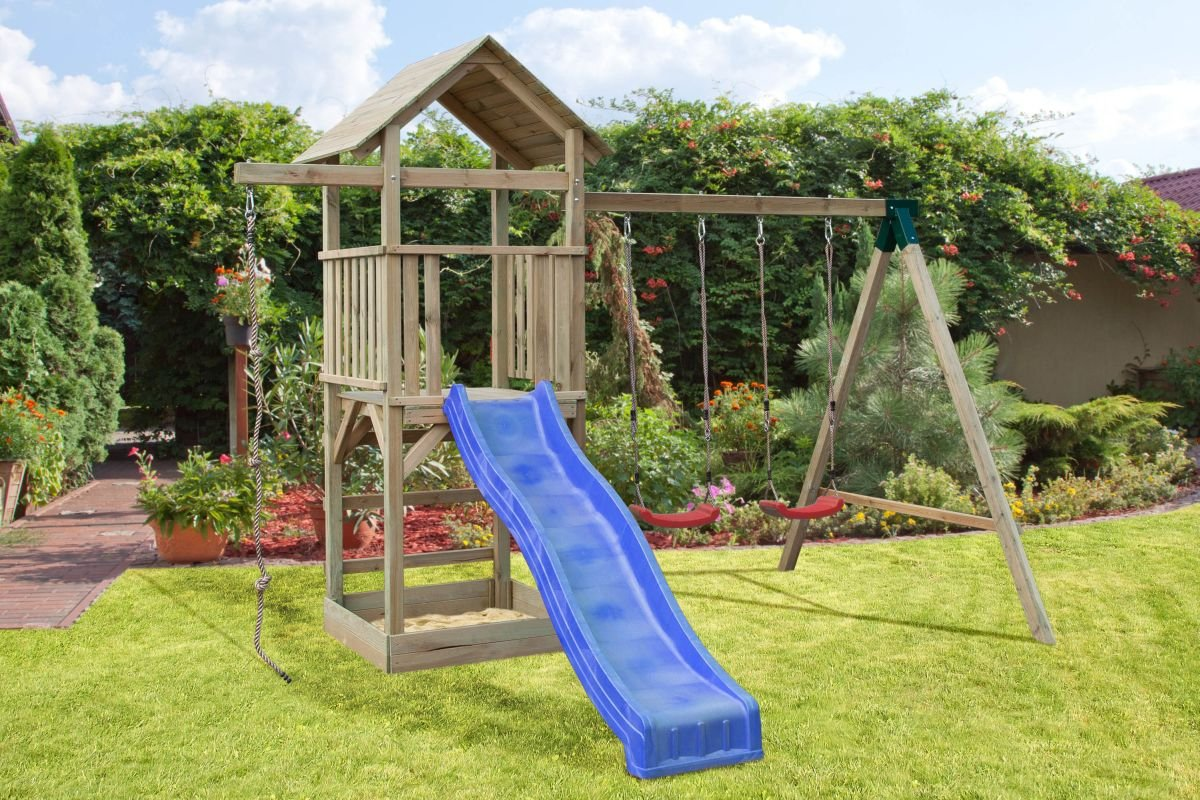Spielturm mit Rutsche und Sandkasten, Schaukel und Kletterseil bestellen