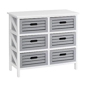 Premier Housewares Vermont - Cómoda (6 cajones), color gris, gris, 6 cajones