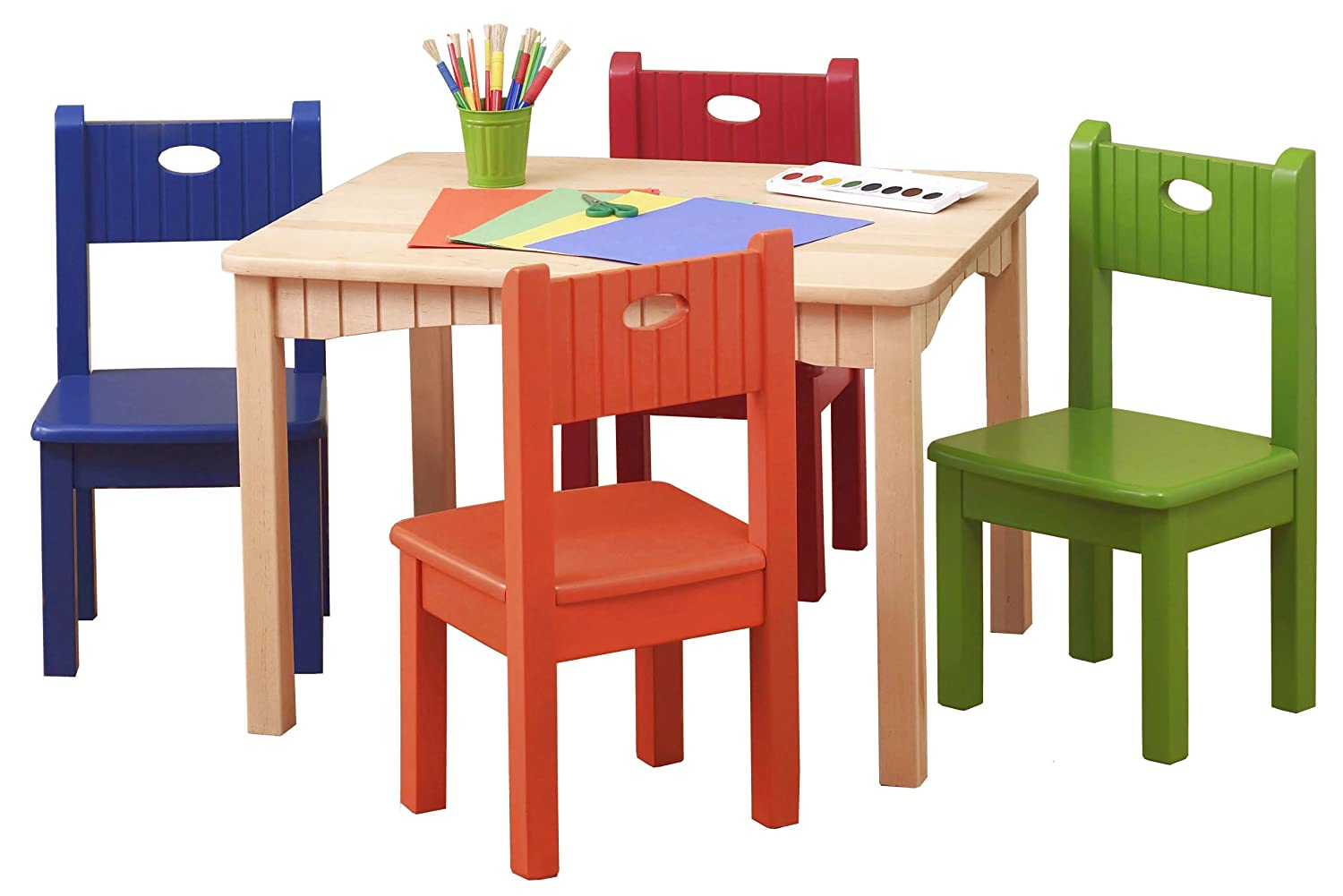 Ukid Natural Wood Activity Table and 4 Bright Chair Set BUY NOW