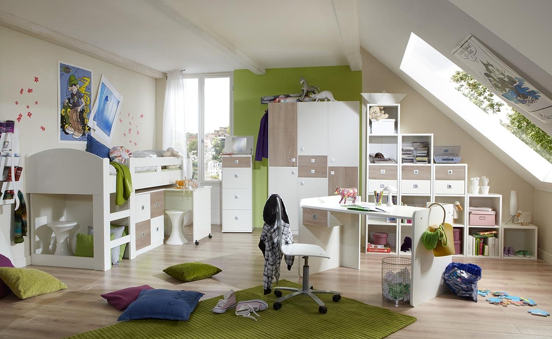 Jugendzimmer mit Bett 90 x 200 cm alpinweiss/ Eiche sägerau jetzt kaufen