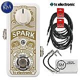 TC Electronic Spark Mini Booster Pedal + (2) Instrument Cables + (2) Patch Cables + K&M Cloth (Color: Cables Bundle, Tamaño: Spark Mini Booster)