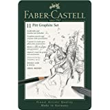 Faber-Castel 11 Piece Pitt Graphite Tin Set (Color: Black, Tamaño: 11 Piece)