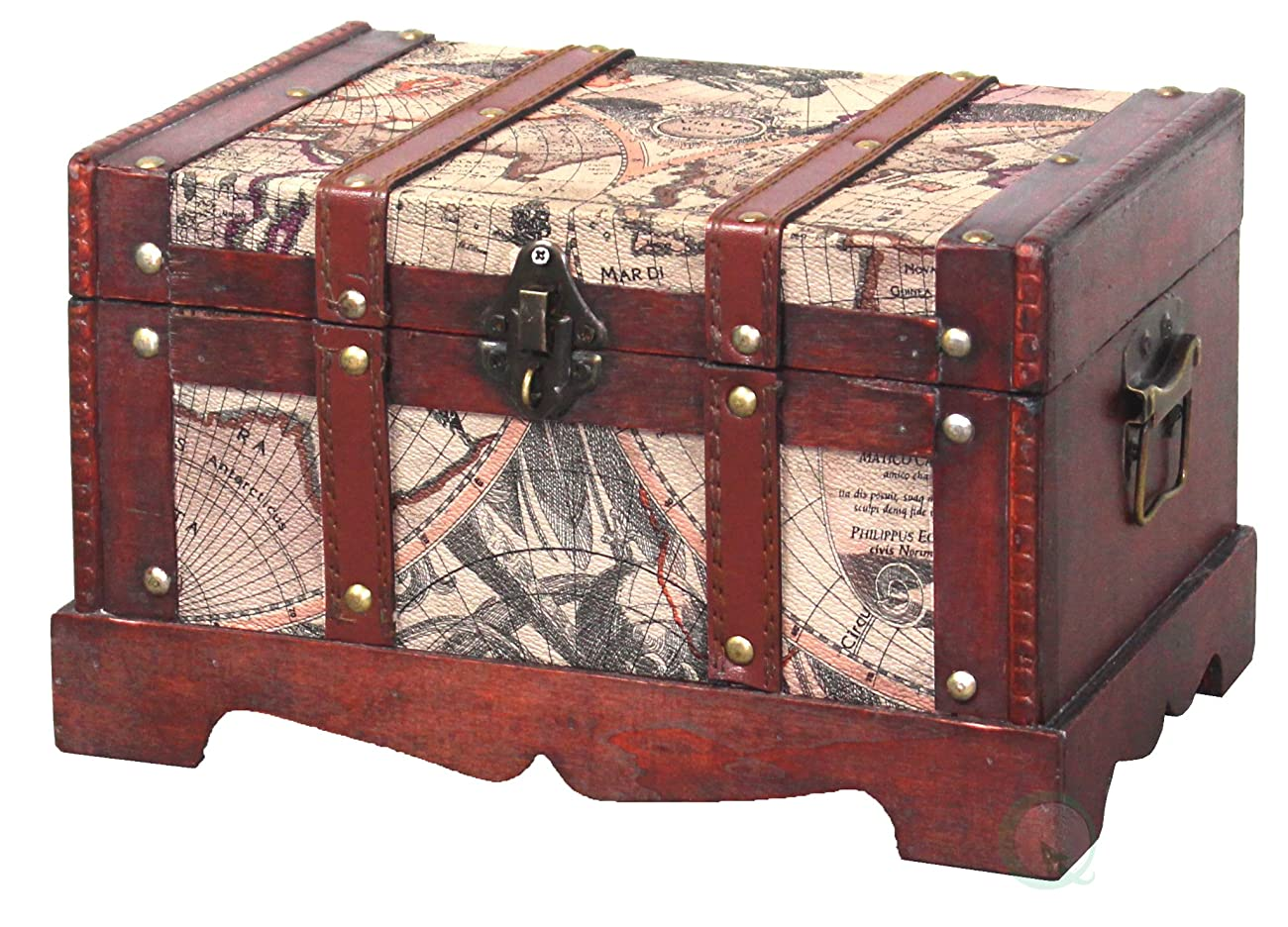 Vintiquewise(TM) Old World Map Wooden Trunk/Box, Set of 2 2