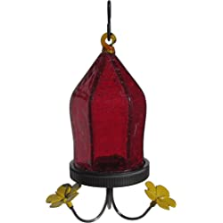 Nature's Way Bird Products JHF1 Crackled Jewel Glass Hummingbird Feeder - Red