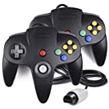 2 Pack N64 Controller, iNNEXT Classic Wired N64 64-bit Game pad Joystick for Ultra 64 Video Game Console N64 System Mario Kart (Black) (Color: Black)