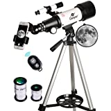 Gskyer Telescope, Travel Scope, 70mm Aperture 400mm AZ Mount Astronomical Refractor Telescope for Kids Beginners - Portable Travel Telescope with Carry Bag, Smartphone Adapter and Wireless Remote (Color: white, Tamaño: AZ70400)