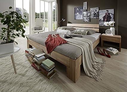 Holzbett 140 x 200 cm Pesto naturliches massives Holzbett aus Kernbuche geölt