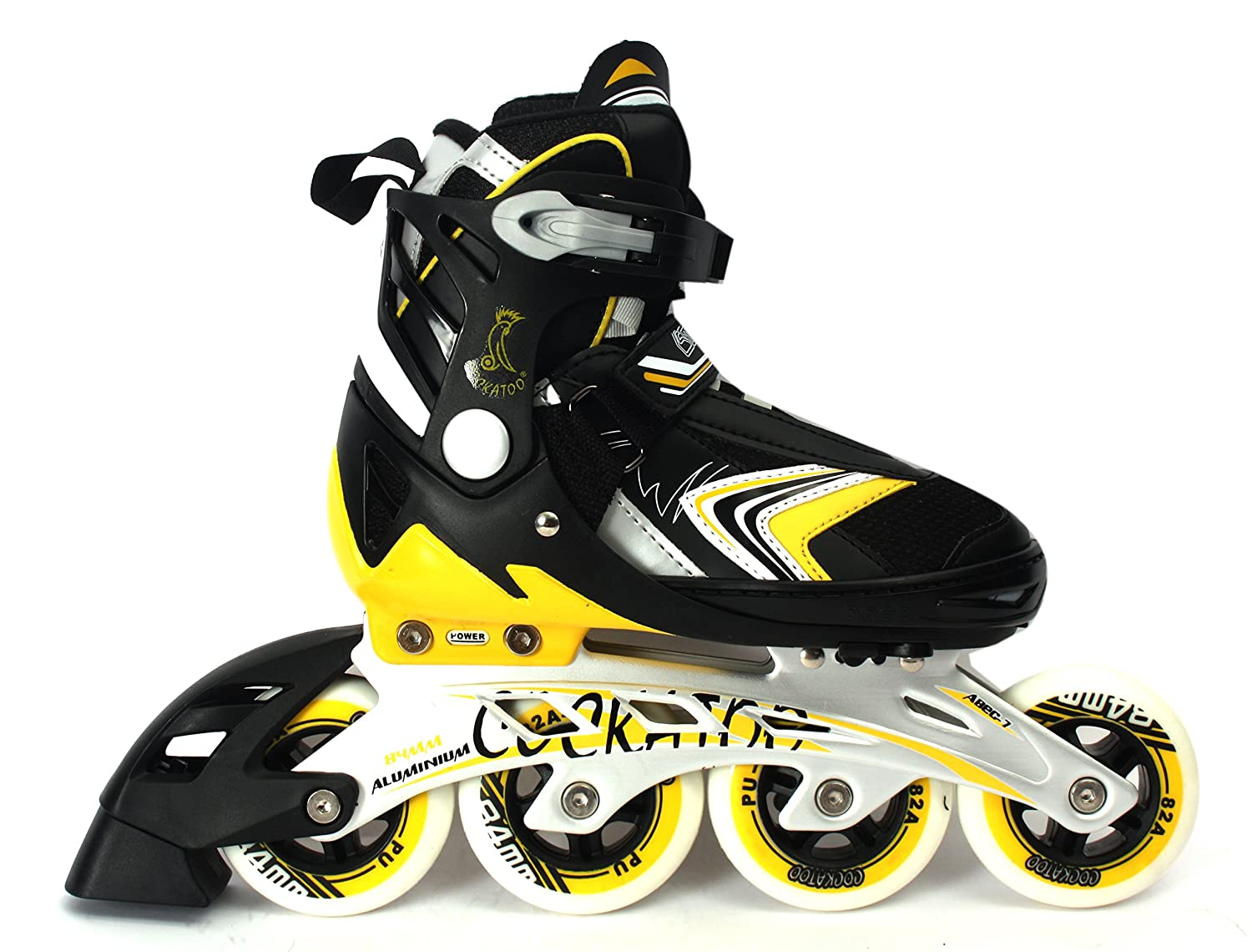 Roller skating shoes in chennai - Buy Cockatoo Abec 7 Inline Adjustable Skates Is05 90 Mm Wheel Black Yellow Large Online At Low Prices In India Amazon In