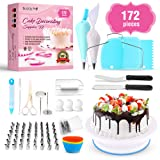 Buddy Pro Cake Decorating Supplies 172 Pieces, Baking Supplies Kit, Beginner Baking Tools, Piping Bags and Tips, Icing Spatula, Turntable Cake Stand, Frosting Smoother, Cupcake Decorating Kit (Color: Silver, Blue, White)