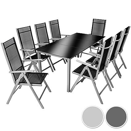 TecTake Aluminio conjunto muebles para jardin 8+1 silla adjustable mesa de cristal 9 pc gris plateado