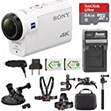 Sony FDR-X3000 4K Action Cam w/ 64GB microSD Card & Action Cam Accessory Bundle (Color: white)