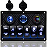 FXC Waterproof Marine Boat Rocker Switch Panel 6 Gang with 4.2A Dual USB Slot Socket + Cigarette Lighter + Voltage Monitor Alarm LED Light for Car Rv Vehicles Truck (Color: 6 NEW Blue)
