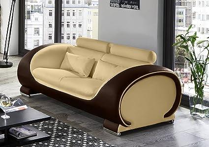 SAM® Design Sofa Vigo 2-Sitzer in creme-braun mit bequemen verstellbaren Kopfstutzen, futuristisches Design, angenehmer Sitzkomfort, pflegeleichte Oberfläche