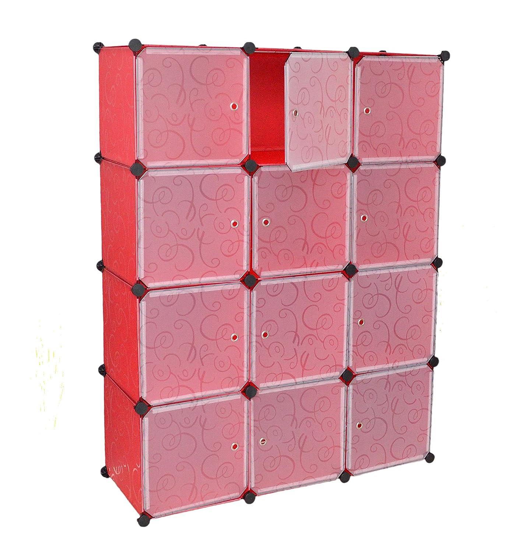 Büro Flur Regal Schrank Steckregal Wandregal Garderobe Highboard Kinderzimmer oder Keller Sideboard in Rot und Weiß Transparent jetzt bestellen
