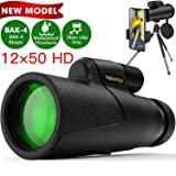 Monocular Telescope, 12x50 High Power HD Monocular for Bird Watching Adults with Smartphone Holder & Tripod BAK4 Prism for Wildlife Hunting Camping Travelling Wildlife - 2019 Newest