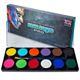 Professional Face Paint Kit - by Blue Squid PRO, 12x10g Classic Color Palette,  Professional Face & Body Painting Supplies SFX, Adult & Kids, Superior Safe Paint for Sensitive Skin Halloween