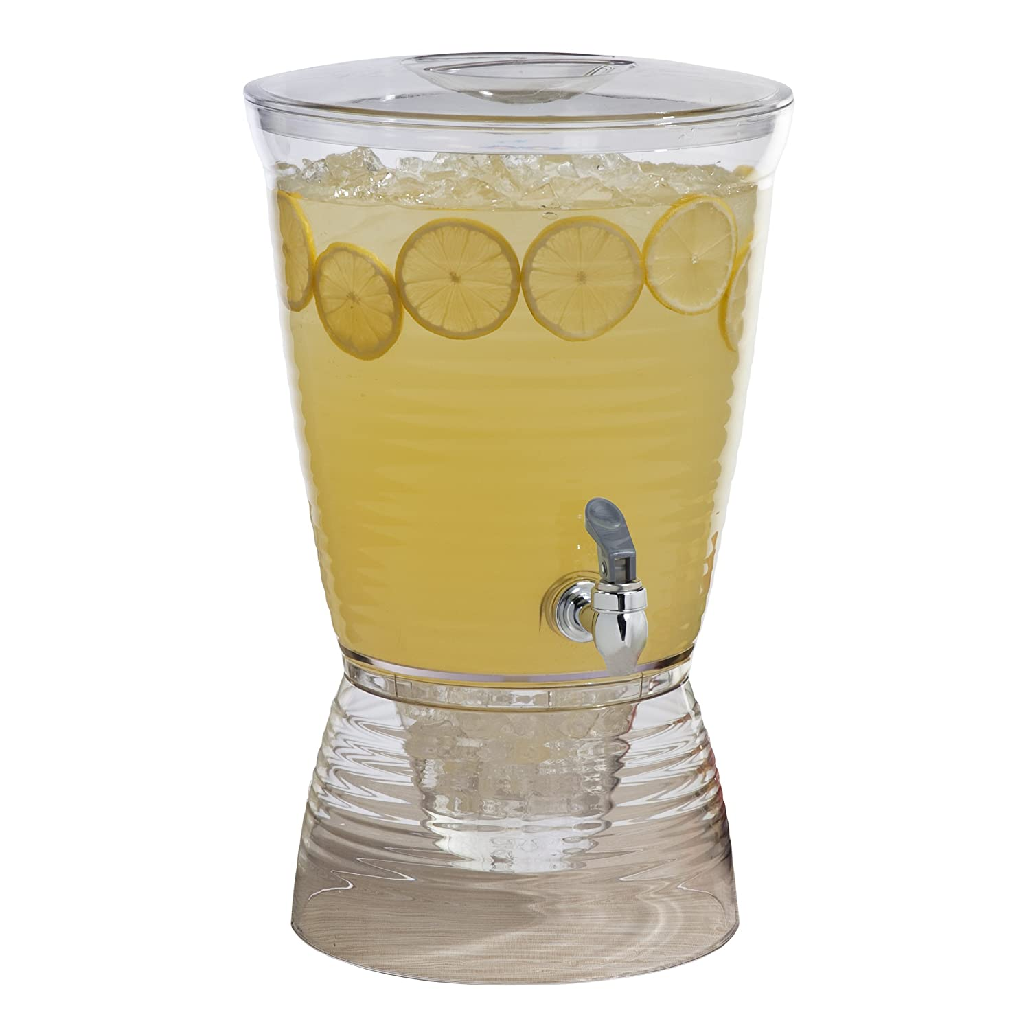 Large 2 Gallon Beverage Dispenser on Stand with Spout – Ice Base and Core Keep Juice and Drinks Cold – Shatterproof Acrylic Jug with Fruit and Tea Infuser and Spigot Perfect for Parties.