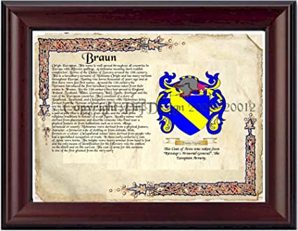 Braun Family Crest Braun Coat of Arms/ Family