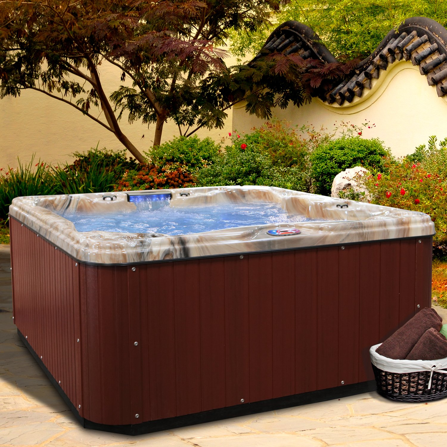 American Spas AM-630LM 5-Person 30-Jet Lounger Spa with Backlit LED Waterfall