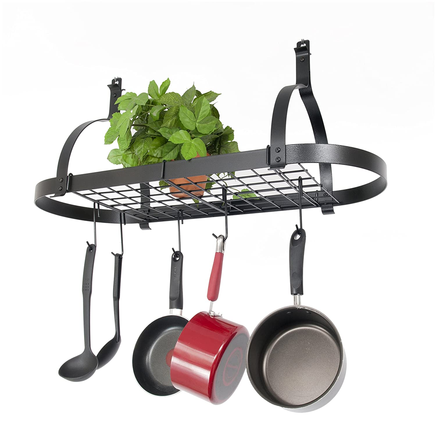 Decorative wall mounted pot rack for kitchen for Pot racks for kitchen
