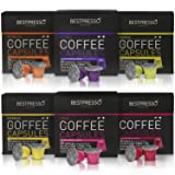Nespresso Compatible Gourmet Coffee Capsules - 120 Pod Variety Pack - for Original Line Nespresso Machine - Bestpresso Brand Certified Genuine Espress