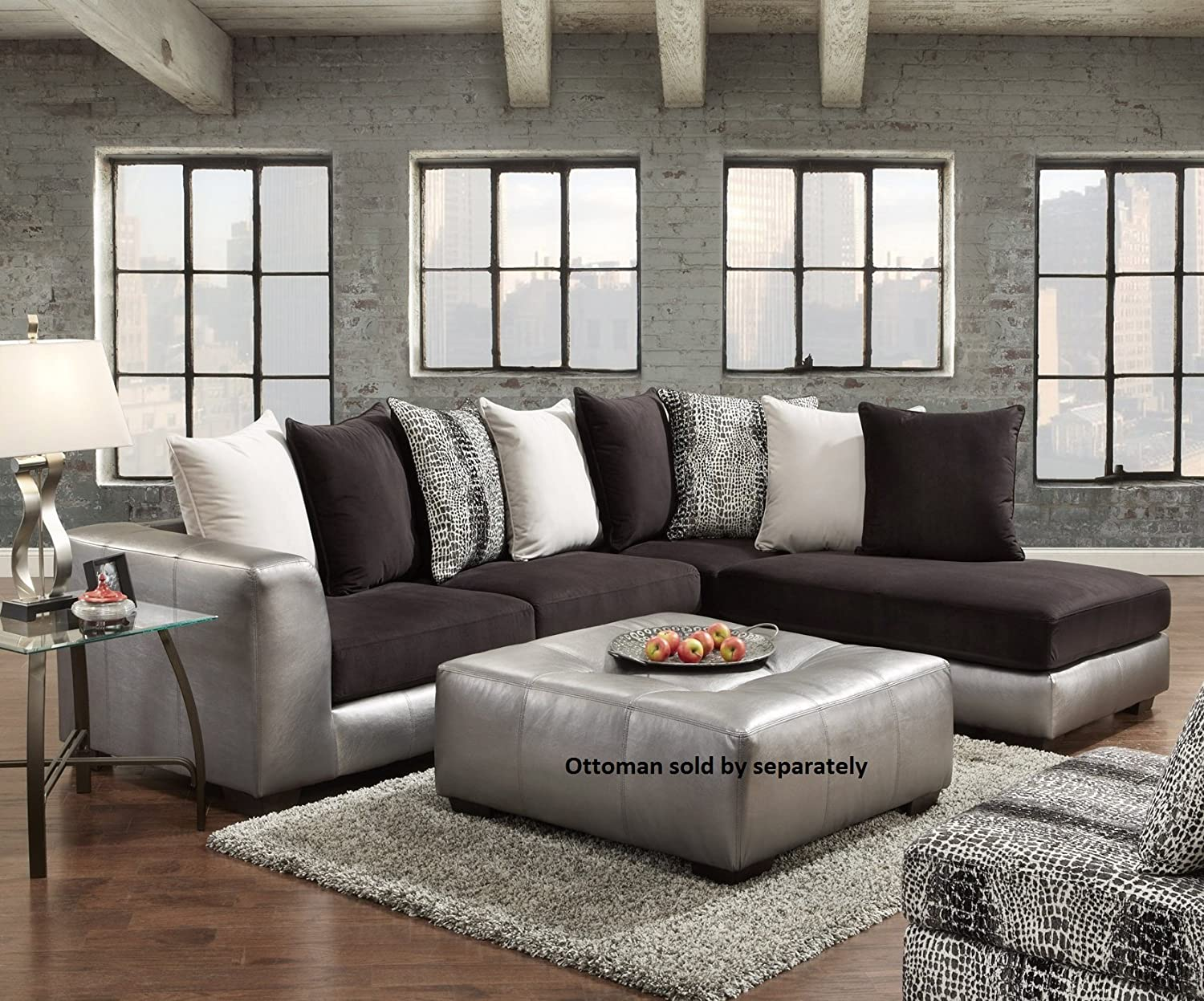 Roundhill Furniture Shimmer Pewter Microfiber Sectional Sofa - Black