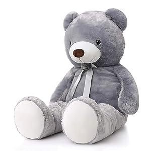 MorisMos Giant Teddy Bear Stuffed Animals Plush Toy for Girlfriend Kids (Gray, 47 Inch) (Color: Gray, Tamaño: 47 Inch)