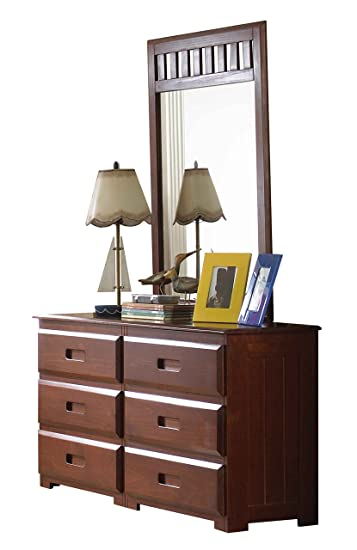 Discovery World Furniture 6 Drawer Dresser and Mirror, Merlot