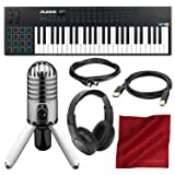 Alesis VI49 49-Key USB MIDI Keyboard & Drum Pad Controller with Samson Meteor Mic USB Microphone and Headphones Deluxe Bundle