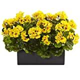 Nearly Natural Geranium Silk Plant in Rectangular Planter, Yellow