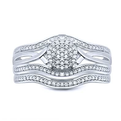 Rings-MidwestJewellery.com Women's Bridal Wedding Rings Set 10K White Gold 1/3Cttw Diamonds