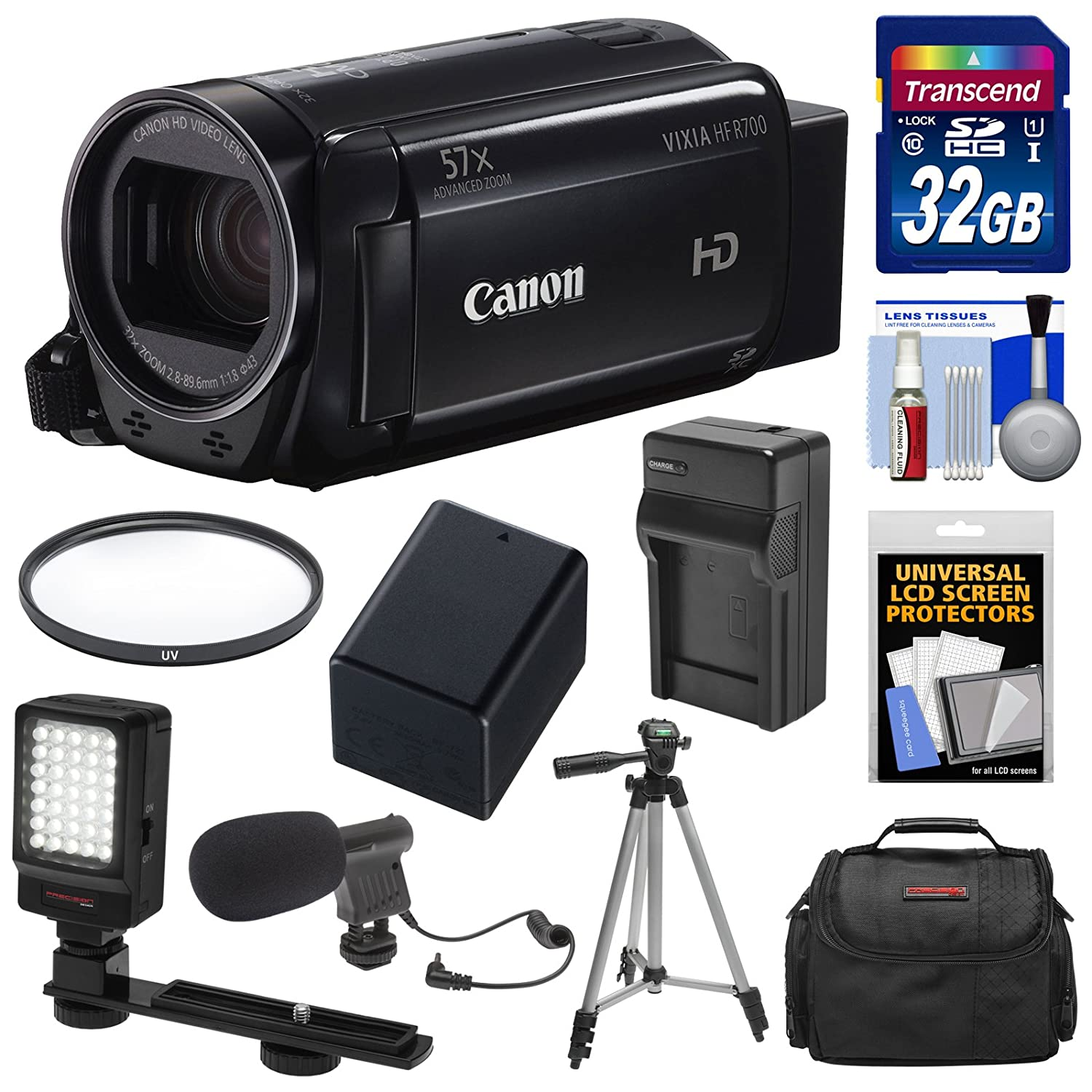 Canon Vixia HF R700 1080p HD Video Camcorder (Black) with 32GB Card + Battery & Charger + Case + Tripod + LED Light + Microphone + Kit