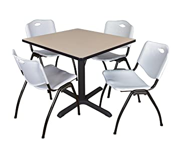 Regency Seating 42-Inch Square Beige Laminate Table with Cain Base and 4 Grey M Stack Chairs