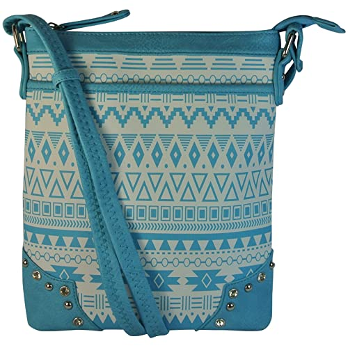 Aztec Print Cross Body Studded Bag Hipster Style Purse